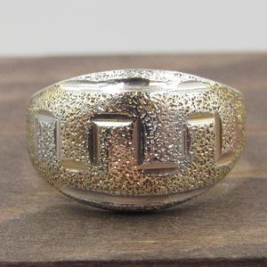 Size 7.75 Sterling Textured Worn Gold Plated Ring